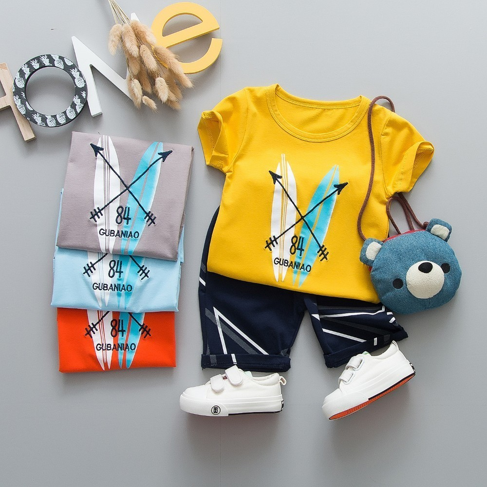 2019 Children Boys Cotton Clothing Baby New Fashion T-shirt Pants 2Pcs/Sets Infant Summer Kids Sport Clothes Toddler Tracksuit