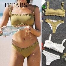 Hot Sale ITFABS Solid Padded Bra Bikini Set Swimsuit Women Bandage Push-up e Swimwear Bathing