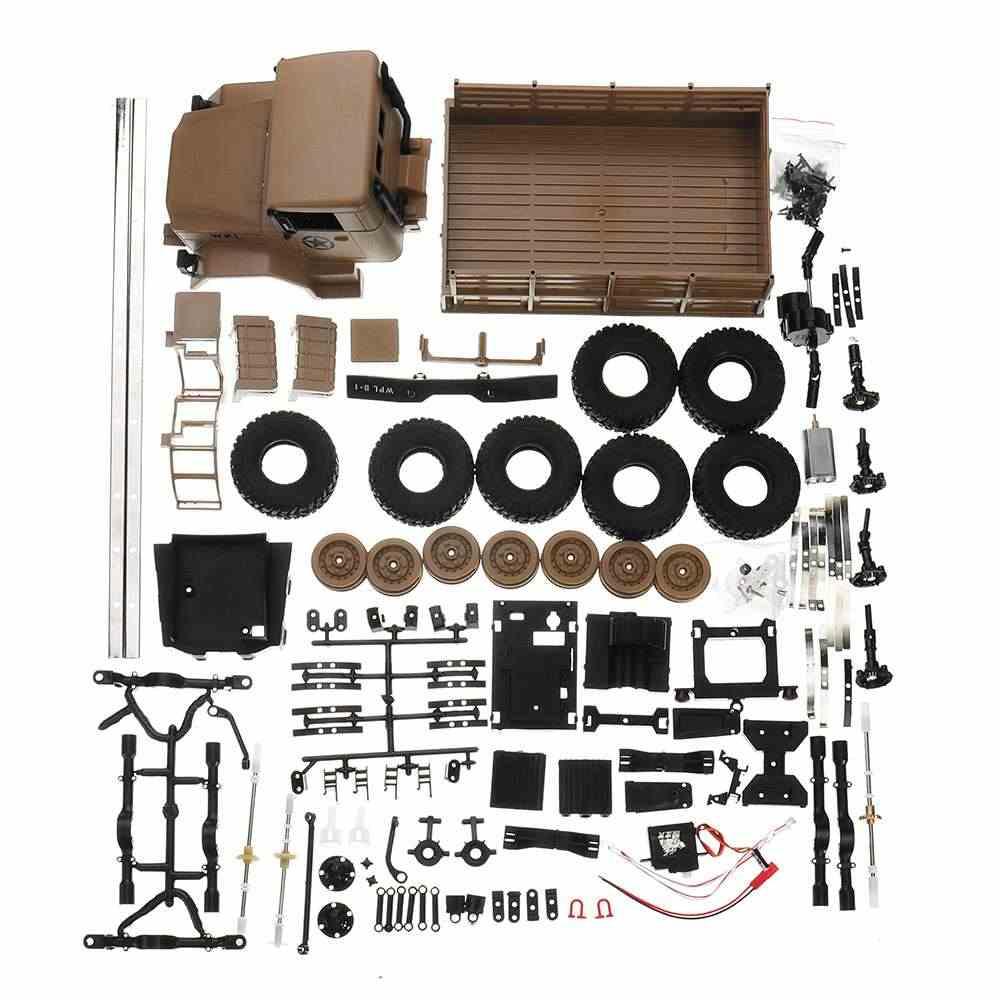 WPL B-16 KIT 1/16 2.4G 6WD Crawler Off Road RC Car Kit Met Licht Zonder Elektrische Onderdelen Amry Geel groene DIY Montage Modellen