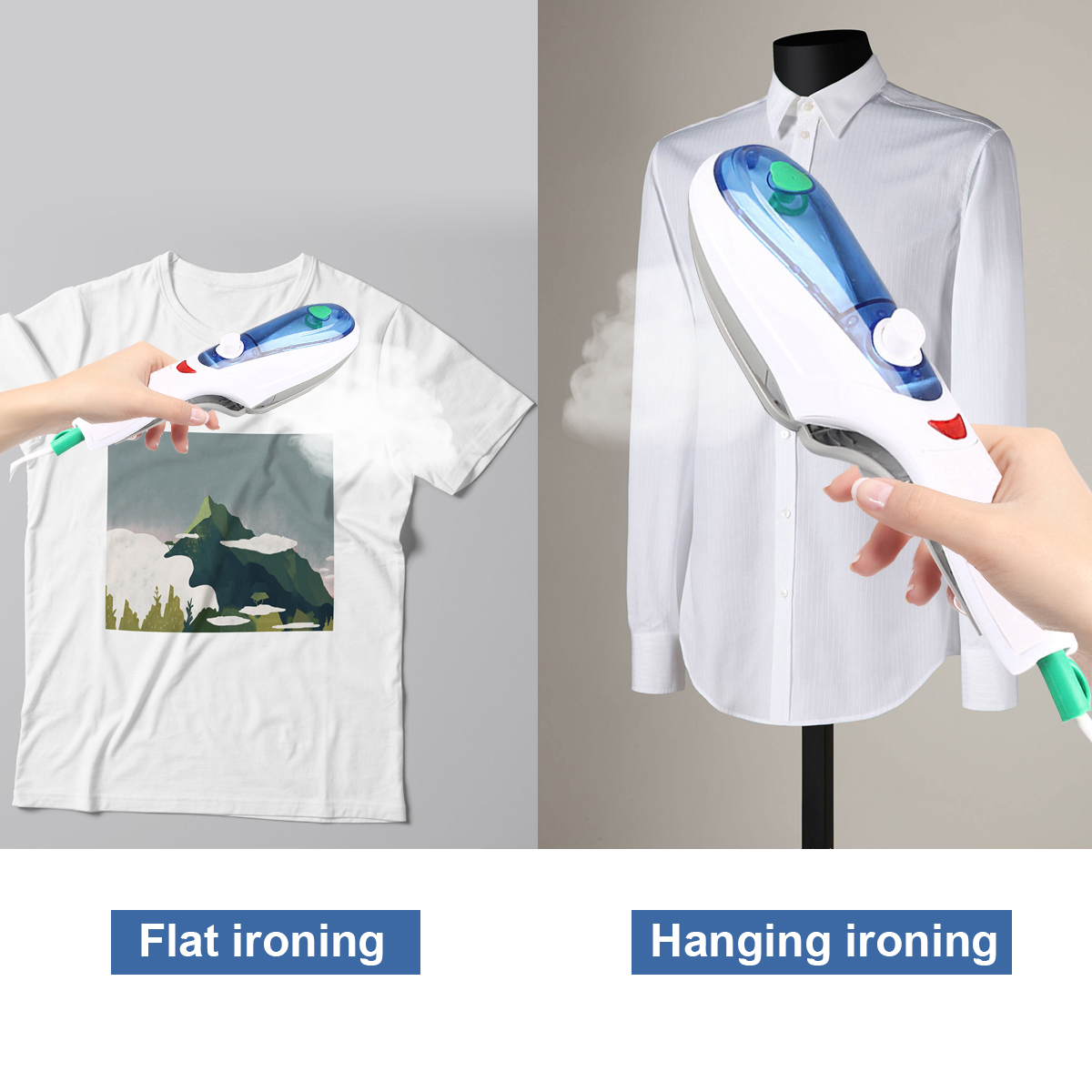 1000W Handheld Garment Steamer Iro Brush Foldable PortableSteam Irons for Travel Home Household Ironing Clothes
