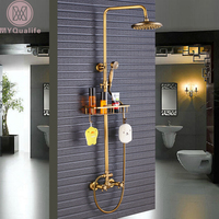 Antique Brass Shower Faucet Mixers Dual Handle Rainfall 8 Brass Shower Head with Bath Storage Shelf and Hooks Shower Water Tap