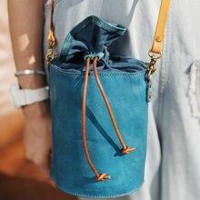 Vintage Female Shopping small Bucket Bag For Women Soft Leather drawstring Shoulder Messenger Bag Crossbody Bag Bolsa Feminina