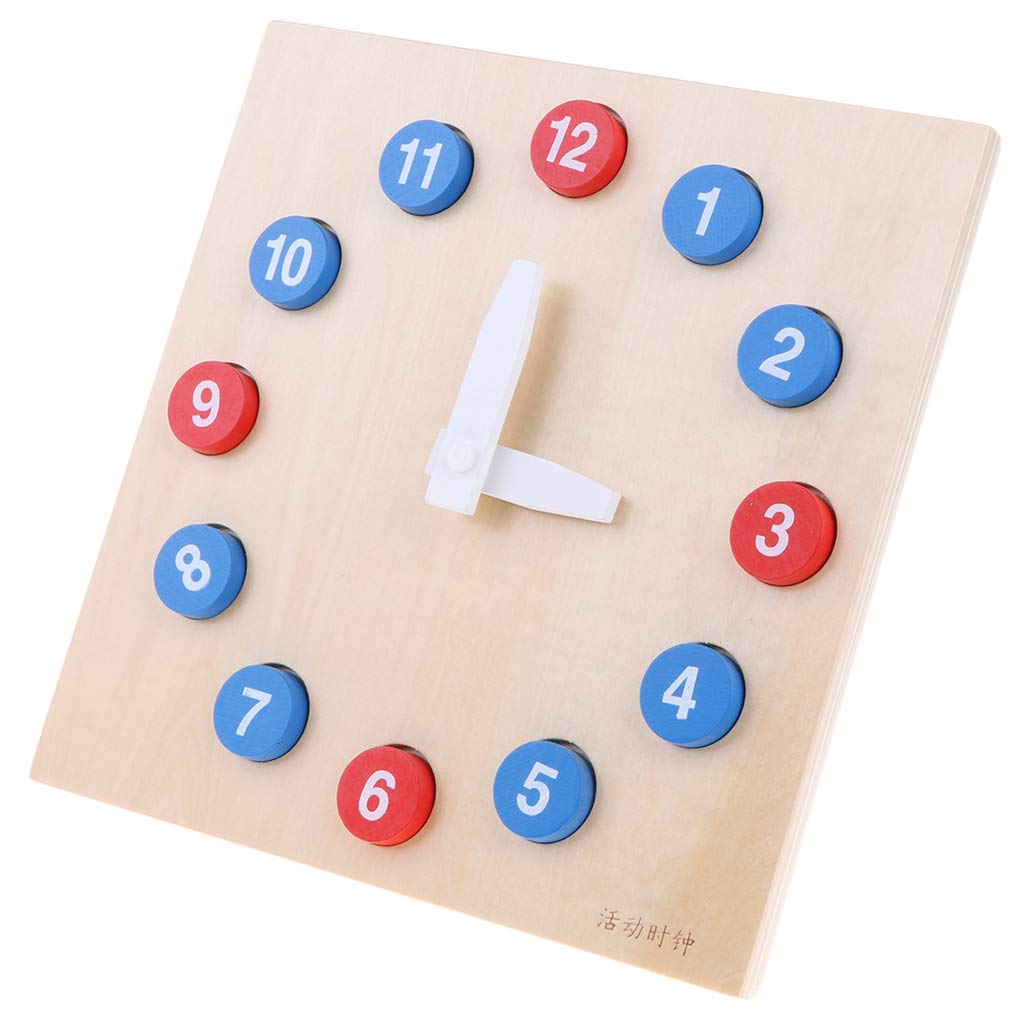 Montessori Mathematics Educational Materials Wooden Time Clock with 1 12 Number Blocks Puzzle Early Learning font