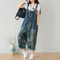 Printed Flower jean Jumpsuits Large size Baggy Wide Leg Bodysuits Oversized cowboy Bib Denim Harem Rompers Drop Crotch Overalls