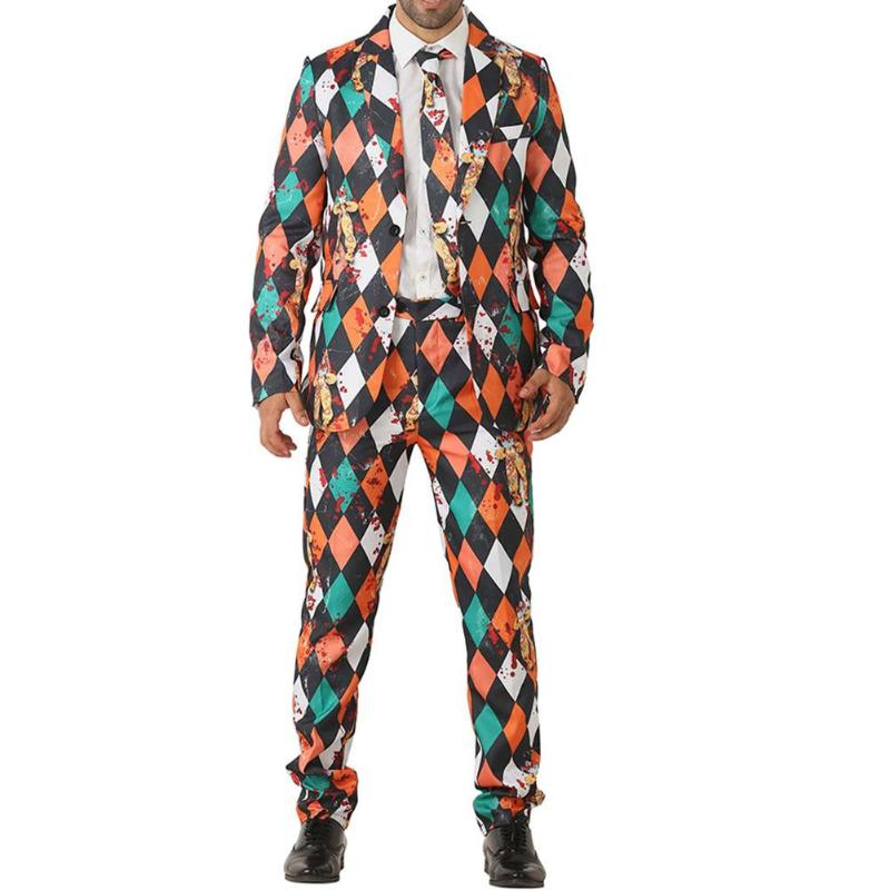 Men Women Suits Clown Pattern Neutral Costumes Holiday Party Stage Suit