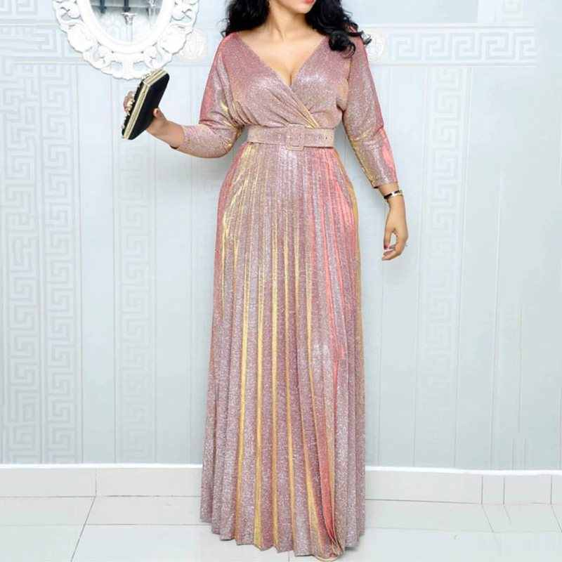2019 Reflective Long Dress Women Pleated Sexy Deep V Evening Elegant Robe Spring High Waist Fashion Belt Party Pink Maxi Dresses
