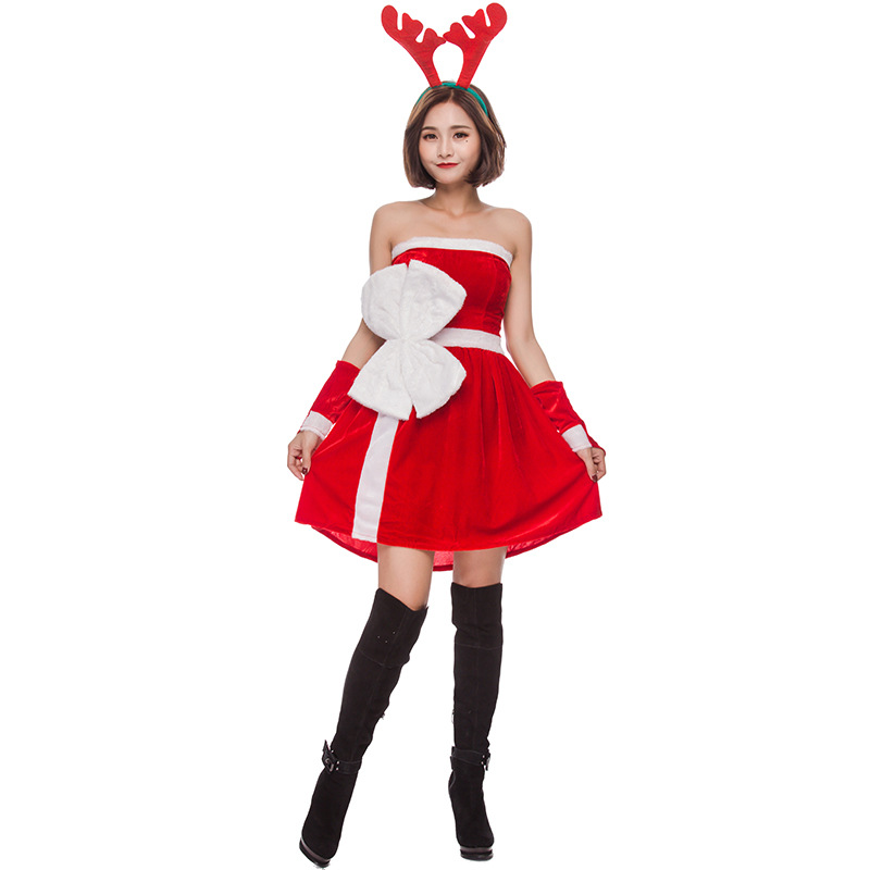 Adult Womans Santa Cute Reindeer Christmas Costume