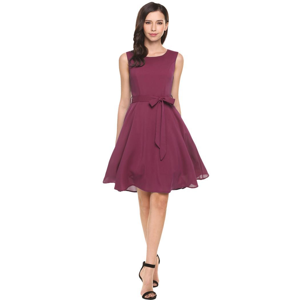 2c163519ac02d AL'OFA Women Elegant Cocktail Dress Summer Sleeveless Solid Belted Cocktail  Party Pleated Dress ...