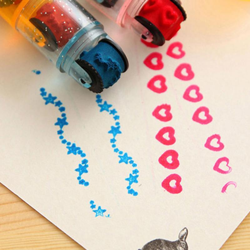 Educational-Cycle-Roller-Stamp Diary Cartoon-Seal Interesting Scrapbook DIY Ink-Pad Photo-Album