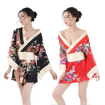 Traditional Brand Women Japanese Kimono Sleepwear Sexy Deep V-neck Kimono Satin Floral Printed Nightwear Short Bath Robe 2