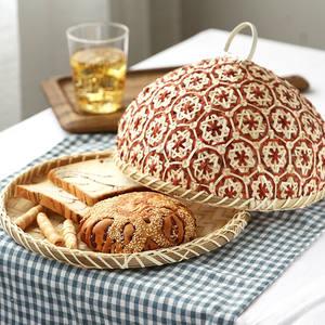 Straw-Basket Bread-Organizer Round-Plate Rattan Kitchen-Storage Fruit-Wicker Bamboo Food