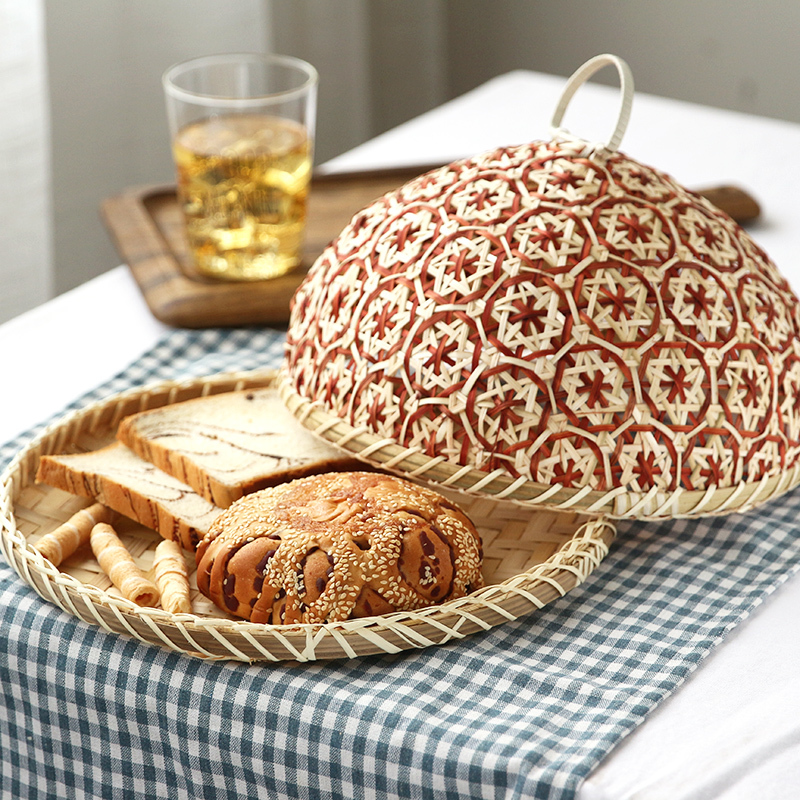 Handmade Bamboo Food Fruit Wicker Rattan Straw Basket Bread With Lid Round Plate Kitchen Storage Bread Organizer Natural Health