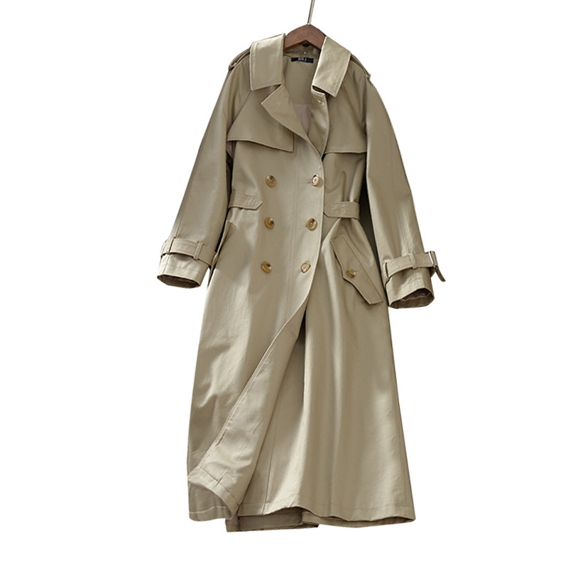 New Long   Trench   Coat For Women Clothes Spring Double-Breasted Elegant Khaki   Trench   Coat Abrigo Mujer Windbreaker Outwear C4363
