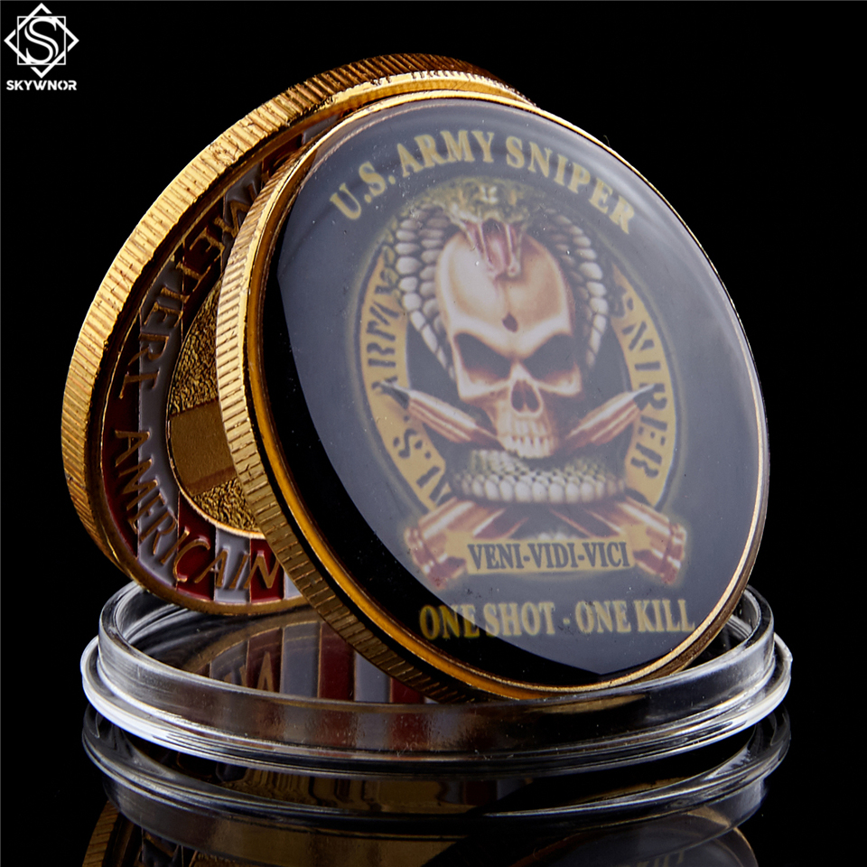 American Souvenir Gold Plated Coin Original US Army Sniper One Shoot One Kill American Eagle Military Challenge Coin