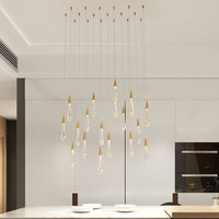 Gold Water drop Crystal Creative Pendant Light European style Luxury LED Lamps Moderm Glass Indoor Lighting Restaurant