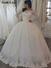 VAMOLASC Boat Neck Lace Appliques Ball Gown Wedding Dresses Illusion Long Sleeve Buttons Backless Bridal Gowns