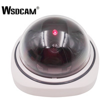 Wsdcam Plastic Smart Indoor/Outdoor Dummy Surveillance Camera Home Dome Fake CCTV Security Camera with Flashing Red LED Lights