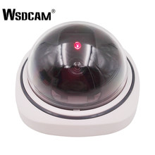 Wsdcam Plastic Smart Indoor/Outdoor Dummy Surveillance Camera Home Dome Fake CCTV Security Camera with Flashing Red LED Lights(China)