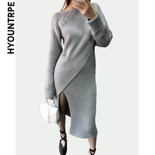 Elegant Two Piece Sets Women Knitted Asymmetrical Sweater Pullover and Side Split Knitting Midi Sexy Slim Fit Skirt Casual Suits