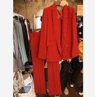2018 New Spring and Autumn Women's Red Small Suit Jacket Coat + Long Pants Two Piece Ladies Formal Career Trousers Set