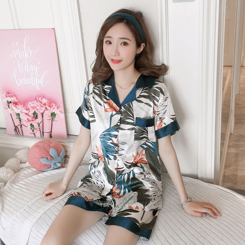 High Quality 2019 WAVMIT Short Sleeve Pajamas Silk Set 2 Pcs Set Women Sleepwear Sexy Nightwear for Women Sleepwear Short Pant(China)