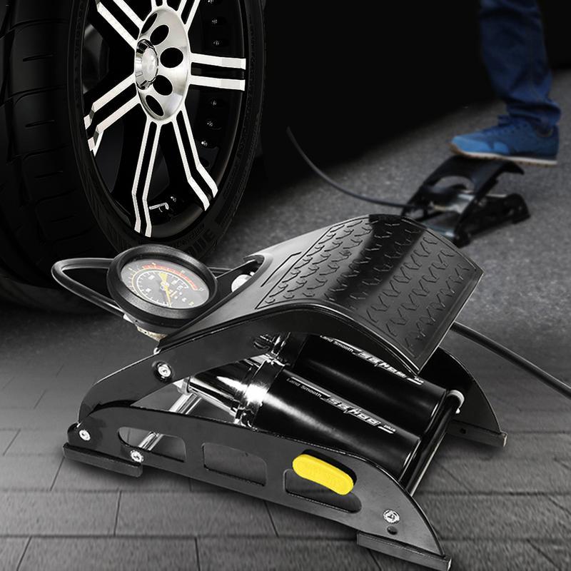 Vélo voiture accessoire pompe à pied pour Bmw Double cylindre Type de pédale efficacité pompe pour vélo voiture électrique voiture boule