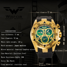 Men's calendar personality large dial decoration 6-pin Spiral crown rubber luxury sports watch WOLF-CUB 5 colors