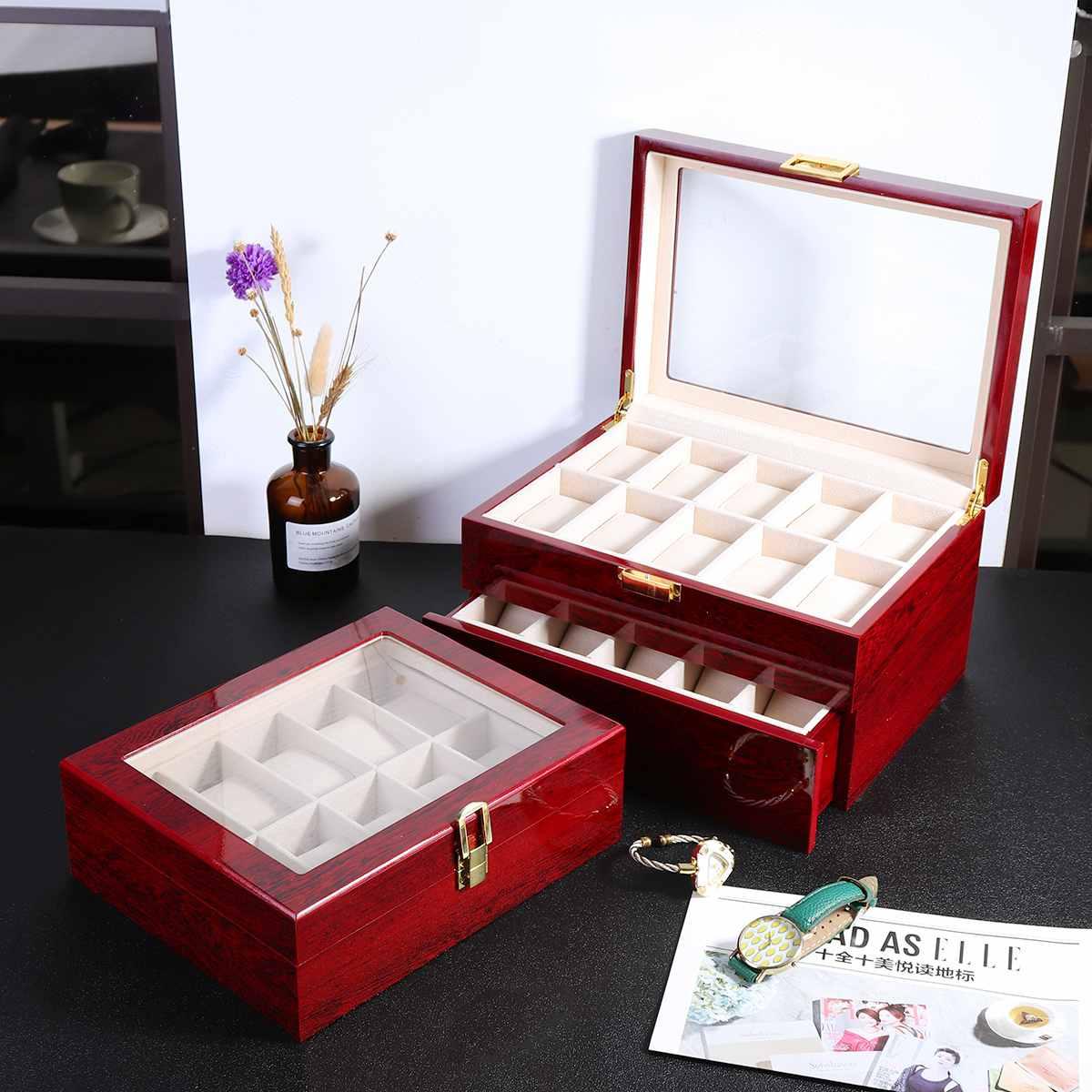 Luxe 10/20 grilles en bois montre-bracelet affichage boîte support de stockage organisateur montre Case bijoux affichage montre boîte