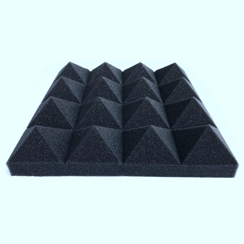 O transporte da gota 12 pces isolamento acústico espuma absorção de som pirâmide estúdio tratamento painéis de parede 25*25*5cm espuma acústica