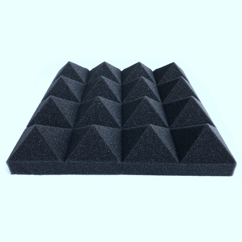 O transporte da gota 12 pcs Espuma de Isolamento Acústico de Absorção de Som Pirâmide Estúdio Tratamento 25*25*5cm Acústico Painéis de Parede espuma