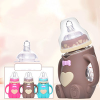 Baby Feeding Glass Bottles Maternal And Child Supplies Newborn Baby Wide caliber Bottles Anti fall Anti flatulence Handle