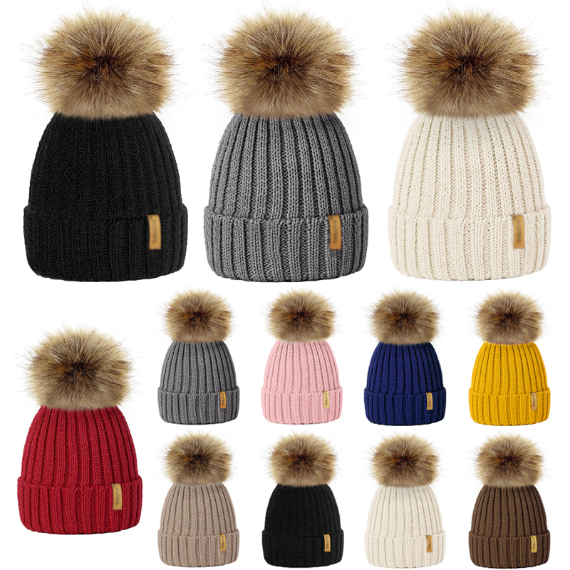 Mom and Kids Wool Knitted Pom Pom Hats for Women Children 2018 Winter Warm Faux Fur Pompom Cap Boys Girls   Skullies     Beanie   Hats