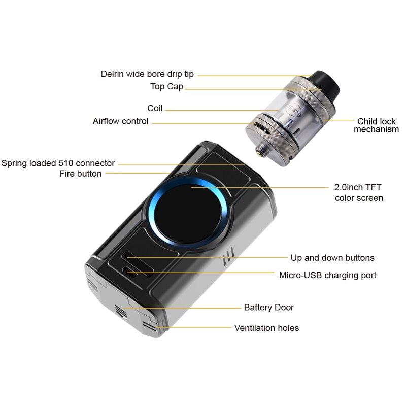 D'origine Aspire Dynamo Vaporisateur Kit avec 4 ml Nepho Réservoir 220 W Boîte Mod 510 Fil 2 pouces TFT Écran vaporisateur Cigarette Électronique - 2