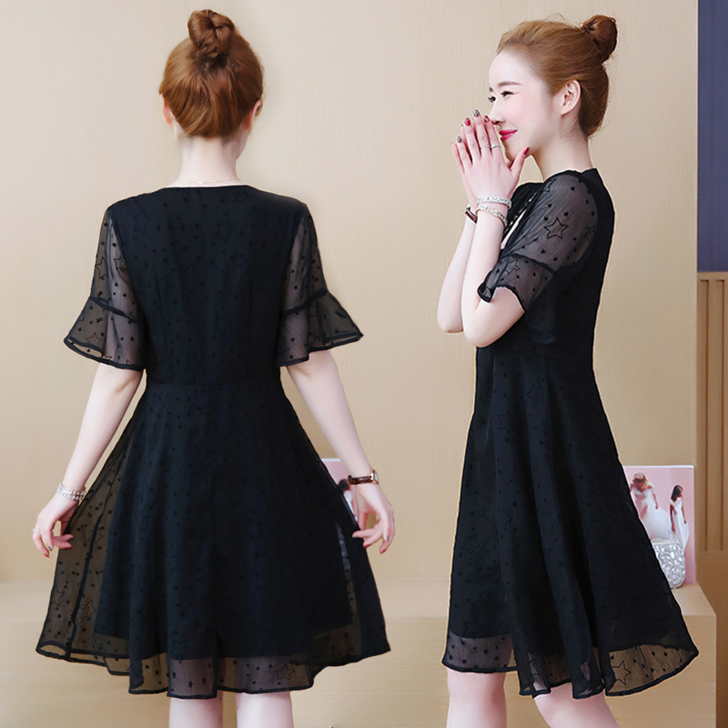 2019 Women Summer Mesh Dress V neck Short Sleeve Dress Casual A Line Knee Length Vintage Party Dresses Vestidos Plus Size 5XL in Dresses from Women 39 s Clothing