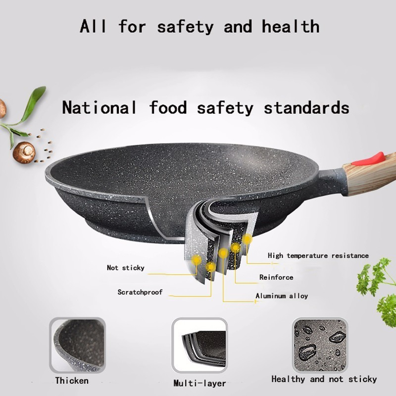 Maifan Stone Not-Sticky Removable Handle Microwave Induction Gas Frying Pan 3
