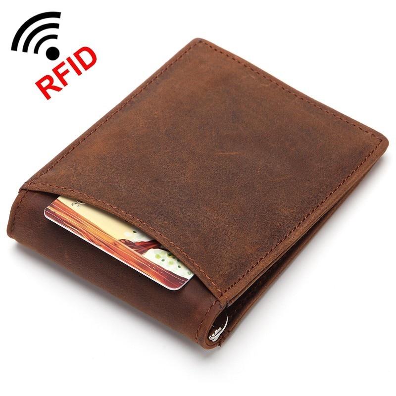 Men RFID Blocking Money Clip Minimalist Wallet Crazy Horse Leather Metal Clip Wallet Genuine Leather Ultra Slim Credit Card Bag