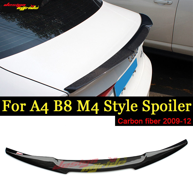 A4 A4a A4Q B8 Spoiler Tail wing New AEM4 Style Carbon Fiber For rear spoiler Rear trunk Lid Boot Lip tail 2009-12