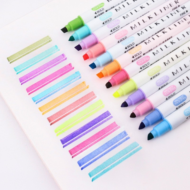 12PCS Double-end Highlighter Pen Pastel Liquid Marker Fluorescent Milkliner Highlighters Watercolor Drawing Pen School 04428 image