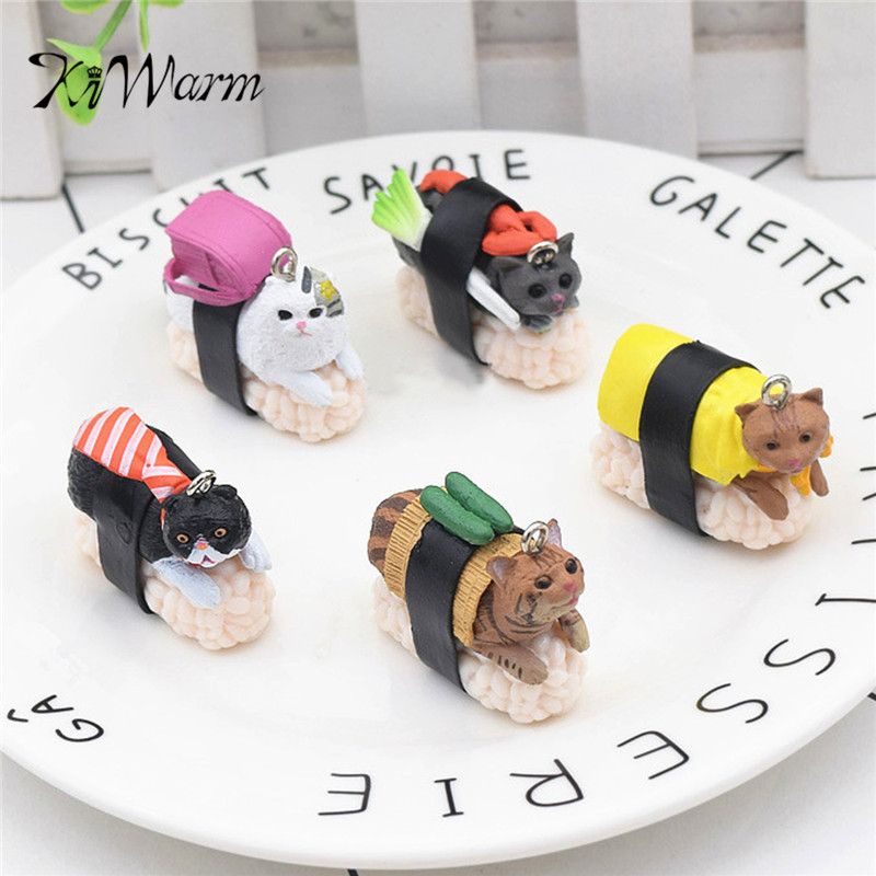 KiWarm Lovely 5Pcs/Set Cute Sushi Mini Figure Cat Club Capsule Meow Collection Kitty Toys Gift Ornament Decoration Craft