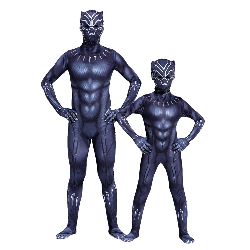Adaptable Kids Black Panther Cosplay Kostuum Jongens Wakanda Koning T'challa Cosplay Superhero Halloween Party Jumpsuit Fancy Zentai Masker