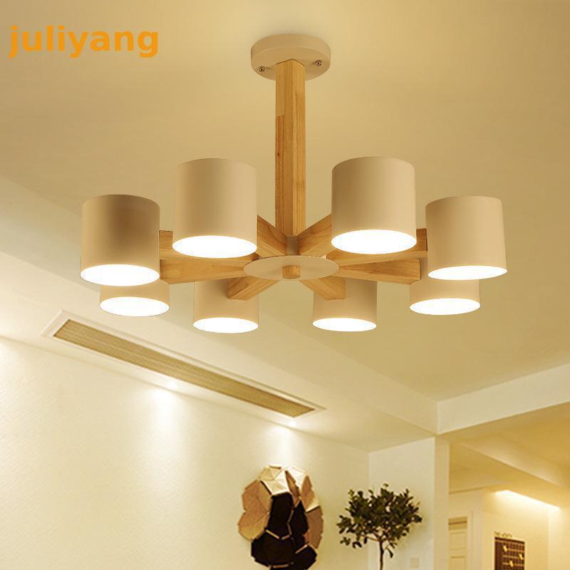 Nordic Solid Wood Chandelier E27 led light fixture for living room kitchen hotel home decoration Large