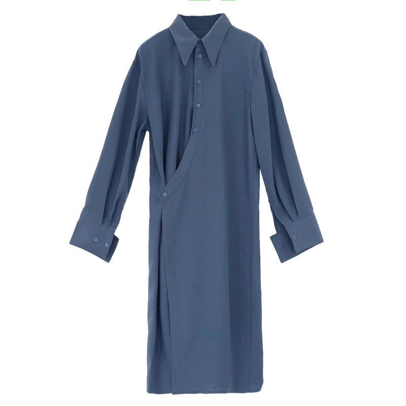 Deuxtwinstyle asymétrique chemise robe femmes revers col à manches longues haute Split femmes robes printemps coréen 2019 vêtements nouveau-in Robes from Mode Femme et Accessoires on AliExpress - 11.11_Double 11_Singles' Day 3
