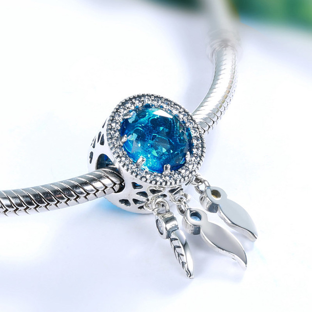 Strieborný prívesok modrý LAPAČ SNOV štýl Pandora Silver Pendant Dream Catcher