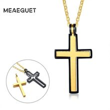 Rotatable Cross Necklace Gold Black Color Stainless Steel Crucifix Pendant For Men Women Jewelry Bestfriend Gift(China)