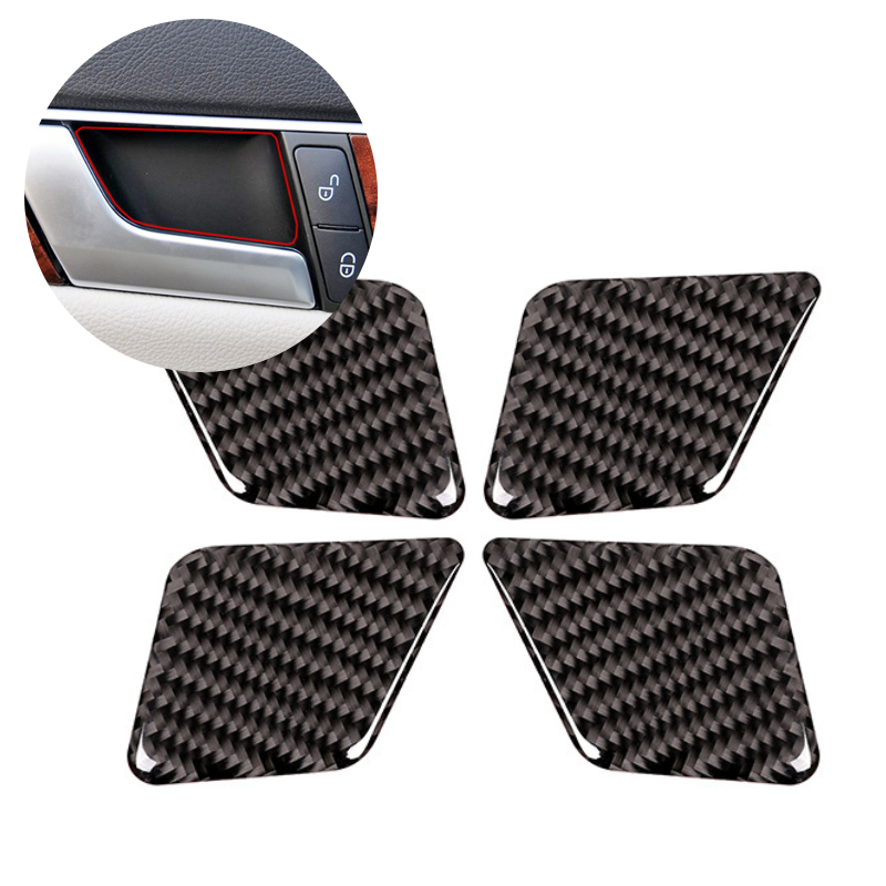 For Mercedes Benz C Class W204 2005 2006 2007 2008 2009 2010 2011 2012 4pcs Carbon Fiber Car Interior Door Handle Bowl Cover