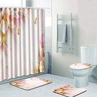 4Pcs/Set Bathroom Non Slip Rug + Lid Toilet Cover + Bath Mat+Shower Curtain Lot