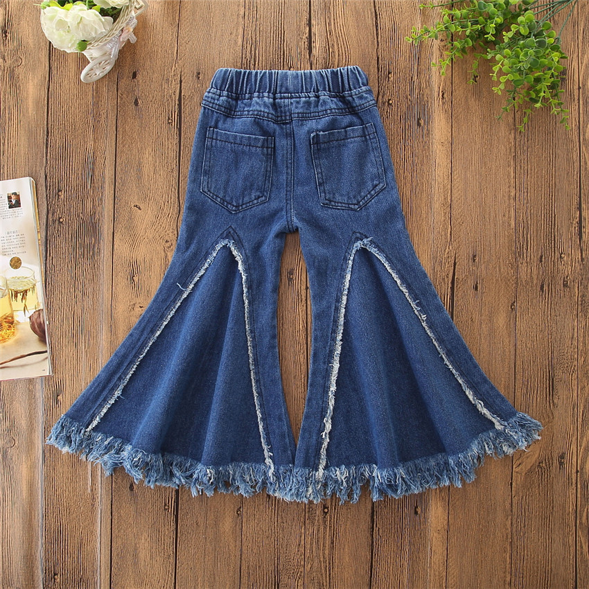 VTOM Children Toddler Girls Pants Kids Flare Tassel Denim Clothes for Baby Jeans Pants Fringed Denim Trousers in Pants from Mother Kids