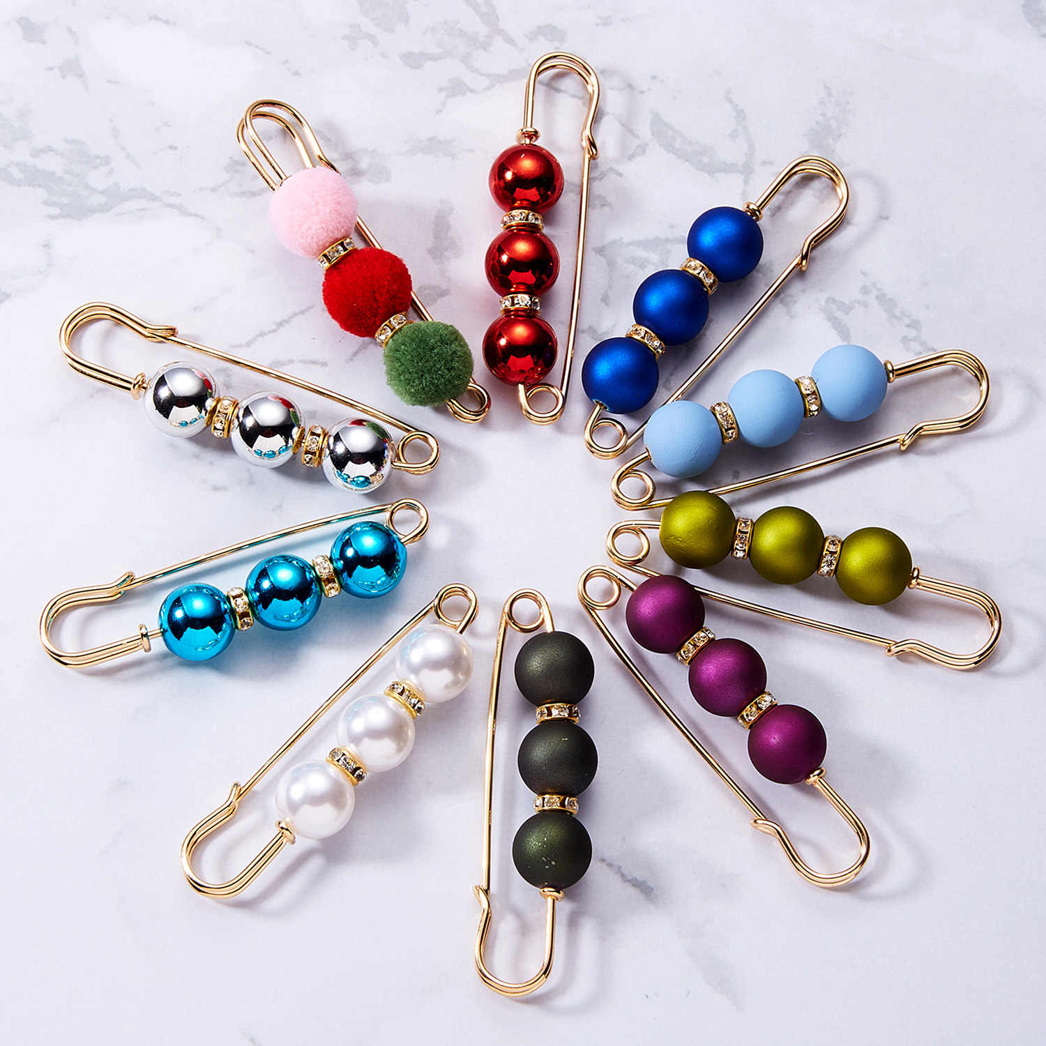 RINHOO Hot Sale 1Pc Imitation Pearl Circle Brooch PU Button Women Zircon Fashion Brooches Colourful