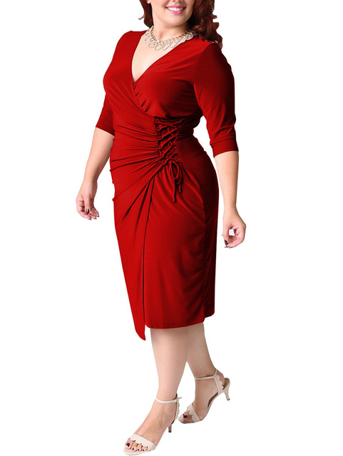 Wipalo Women Spring Summer Plus Size 5XL V Neck Bandage Casual Solid Dress Draped Lace Up Belted Slit Dress Knee Length Vestidos