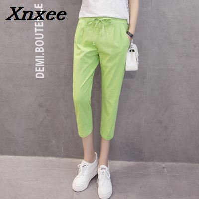 Summer women 39 s casual harem pants plus size loose cotton linen trousers elastic waist calf length pants Xnxee in Pants amp Capris from Women 39 s Clothing
